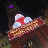 Papá Noel en el mercado de la Navidad de Manchester Imágenes de archivo libres de regalías