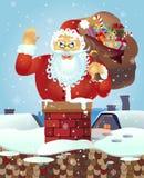 Papá Noel en el tejado con un bolso de regalos y de la mano que agita Bandera del cartel de la tarjeta de Navidad Ilustración del Fotos de archivo