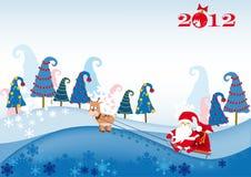 Papá Noel en el trineo enjaezado por un ciervo ilustración del vector