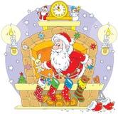 Papá Noel en la chimenea stock de ilustración