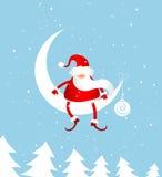 Papá Noel en la luna Fotos de archivo libres de regalías