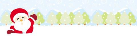Papá Noel en nieve con la Navidad del copo de nieve stock de ilustración