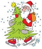 Papá Noel en piel-árbol de la Navidad Imagenes de archivo
