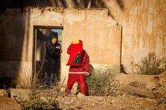 Papá Noel en problema terrible Imagen de archivo