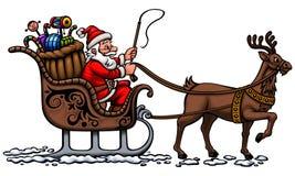 Papá Noel en su trineo stock de ilustración