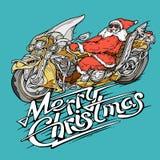 Papá Noel en un estilo plano del ejemplo del vector de la moto stock de ilustración