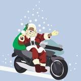 Papá Noel en un motobike Fotos de archivo libres de regalías