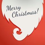 Papá Noel en un trineo Barba Santa Claus en un fondo rojo para su diseño Diseño de la plantilla del saludo de Navidad con Feliz A Imagenes de archivo