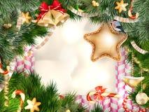 Papá Noel en un trineo EPS 10 Imágenes de archivo libres de regalías