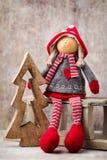 Papá Noel en un trineo Fondo del gnomo de Noel Símbolo de la Navidad Foto de archivo
