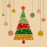Papá Noel en un trineo La Navidad adornó el árbol Illust ilustración del vector