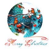 Papá Noel en un trineo Pájaros en ramas en el bosque del invierno Fotografía de archivo libre de regalías