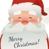 Papá Noel en un trineo Tarjeta de la Feliz Navidad con el carácter divertido de la Navidad Fotografía de archivo