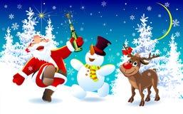 Papá Noel feliz, un ciervo y un muñeco de nieve el la Nochebuena 1 libre illustration