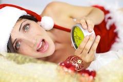 Papá Noel femenino de griterío Foto de archivo libre de regalías