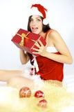 Papá Noel femenino hermoso feliz listo para traer Imágenes de archivo libres de regalías