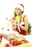 Papá Noel femenino hermoso tarde para la Navidad Fotos de archivo