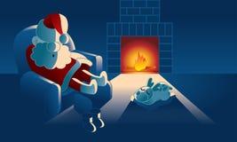 Pap? Noel lindo y su reno est? tomando a siesta cerca la chimenea libre illustration