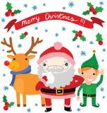 Papá Noel lindo y sus ayudantes Fotos de archivo libres de regalías
