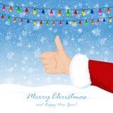 Papá Noel muestra el pulgar para arriba Imagen de archivo libre de regalías