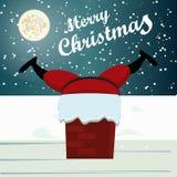 Papá Noel pegó la tarjeta de Navidad Foto de archivo libre de regalías