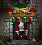 Papá Noel pegado en la chimenea ilustración del vector