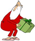 Papá Noel que coge una caja de regalo Fotos de archivo