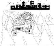 Papá Noel que conduce el coche con los regalos de la Navidad Imagenes de archivo
