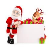 Papá Noel que presenta con el tablero imágenes de archivo libres de regalías