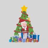 Papá Noel que presenta en frente en poco árbol de Navidad 3d Fotografía de archivo