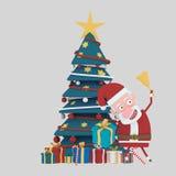 Papá Noel que sostiene una campana en frente en árbol verde de Navidad 3d Imágenes de archivo libres de regalías