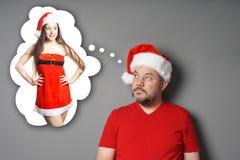 Papá Noel que sueña con la falta santa fotos de archivo libres de regalías