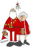 Papá Noel reacio y señora Claus que se coloca debajo del muérdago libre illustration