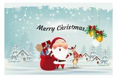 Papá Noel, reno, con la Feliz Navidad y la Feliz Año Nuevo, tarjeta de la caja de regalo, del ornamento de felicitación del fondo imágenes de archivo libres de regalías