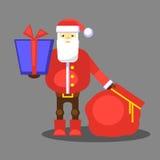 Papá Noel rojo divertido con el bolso y el regalo Presente para usted Vector Tarjeta o cartel de felicitación de la Navidad Fotos de archivo libres de regalías