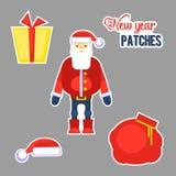 Papá Noel rojo divertido, sombrero, regalo, ejemplo del vector del bolso chris Fotografía de archivo