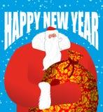 Papá Noel ruso La gran helada del padre en traje rojo lleva el BI Imagen de archivo libre de regalías