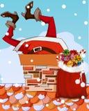 Papá Noel se pegó en chimenea stock de ilustración