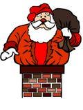 Papá Noel se pegó en chimenea ilustración del vector