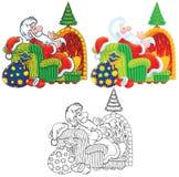Papá Noel se sienta por el fuego Imágenes de archivo libres de regalías