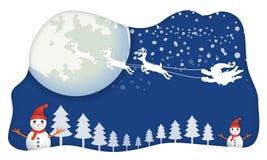 Papá Noel, sin el trineo, volando en movimiento del cielo azul por el reno con b stock de ilustración