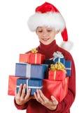 Papá Noel trajo regalos de Navidad y la sonrisa Aislado en blanco Imágenes de archivo libres de regalías