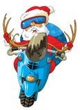 Papá Noel una moto Imagen de archivo libre de regalías