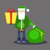 Papá Noel verde divertido con el bolso y el regalo Presente para usted Vector Tarjeta o cartel de felicitación de la Navidad Fotografía de archivo