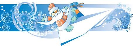 Papá Noel vuela por un día de fiesta Fotografía de archivo libre de regalías