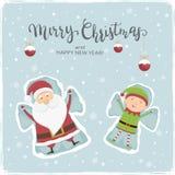 Papá Noel y ángeles de la nieve del duende ilustración del vector