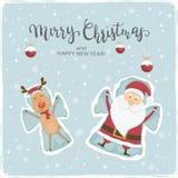 Papá Noel y ángeles de la nieve de los ciervos stock de ilustración