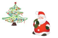 Papá Noel y árbol de navidad Imagen de archivo