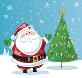 Papá Noel y árbol de navidad Foto de archivo libre de regalías