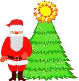 Papá Noel y árbol de navidad Fotografía de archivo